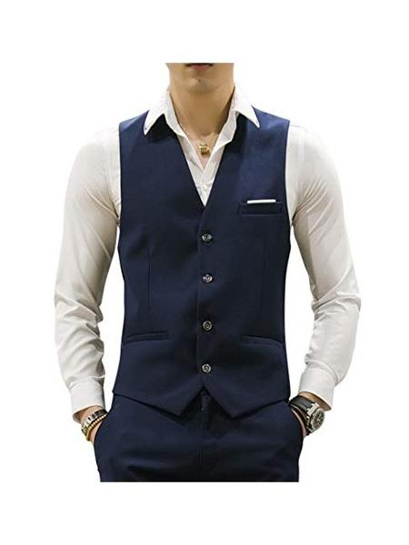 Mens Matching Waistcoat Casual Suit Dress Tuxedo Wedding Vest ~ Waistcoat ~ Waist coat & Pants Set  Package Combo ~ Combination Dark Navy