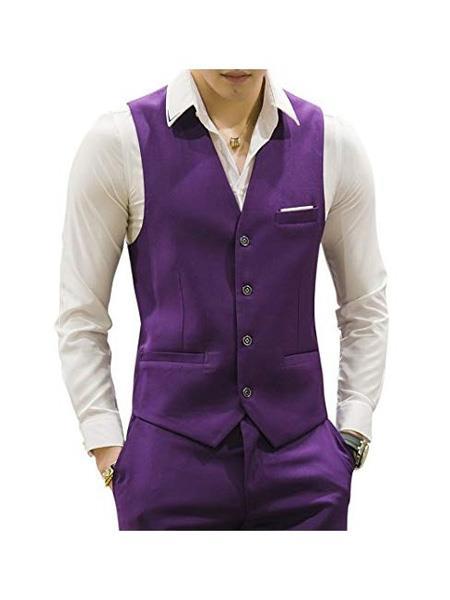 Men's Matching Waistcoat Casual Suit Dress Tuxedo Wedding Men's Vest ~ Waistcoat ~ Waist coat & Pants Set  Package Combo ~ Combination Purple