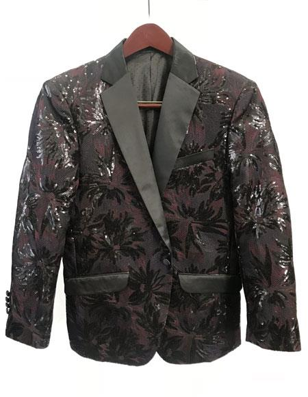 Mens Brown One Button Fashion Party Paisley ~ Sequin Blazer