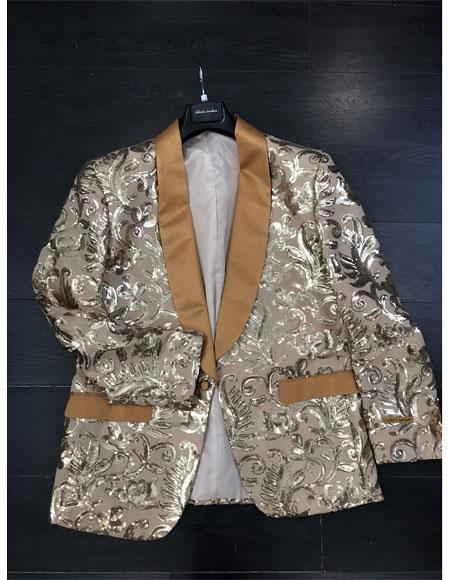 Floral Pattern Fashion Party Shawl Lapel Paisley ~ Sequin Mens Blazer