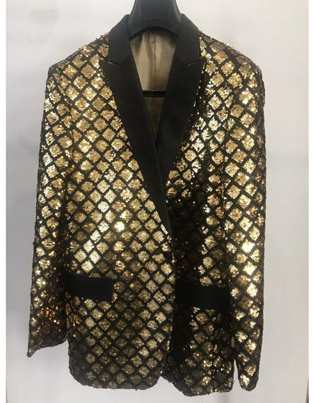 Sequin patterned peak lapel flap front pocket black ~ gold shiny jacket for men