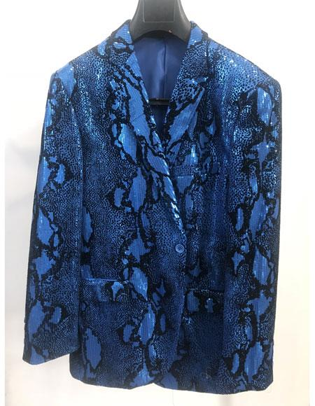 Men's Blue Alligator  Gator look Blue Sport Jacket