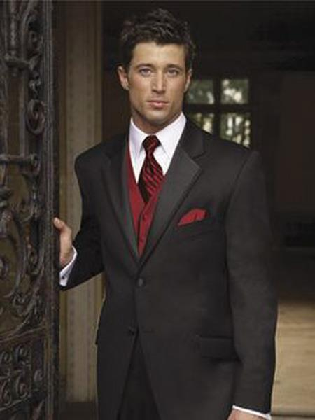 Mens Black Suit + Shirt + Red Vest & Tie Package Combo ~ Combination