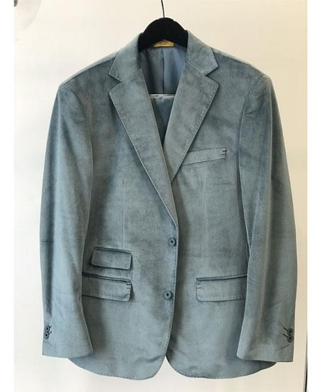 abe73e800 Mens Velvet ~ Velour Sport Coat Ticket Pocket Fashion Casual Jacket Sky  Baby Blue ~ Light BlueBlazer
