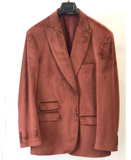 Mens Ticket Pocket Rust ~ Copper ~ Brick Fashion Casual Jacket Velvet ~ Velour Sport Coat Blazer