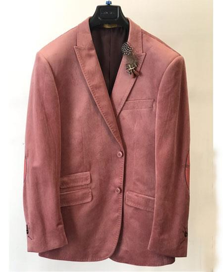Mens Velvet ~ velour Blush Mauve Mens blazer Ticket Pocket Fashion Casual Jacket