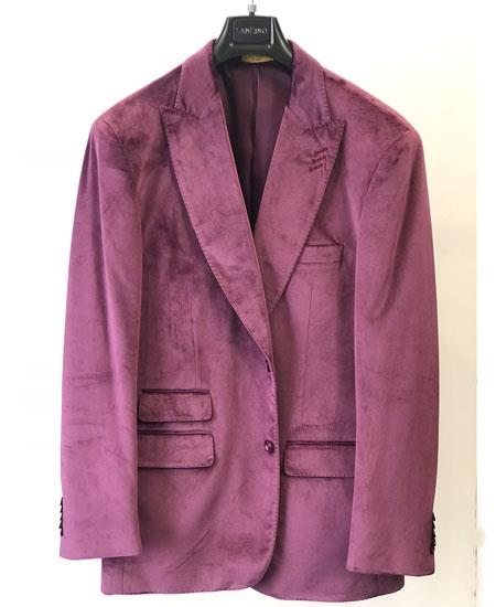 Men's Ticket Pocket Fashion Casual Jacket Velvet ~ Men's blazer Dark Lavender ~ Light Purple