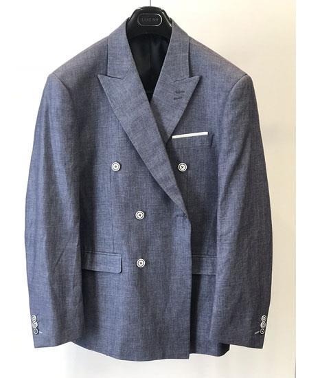 Men's Gray Three Button Cuffs Double Breasted Blazer