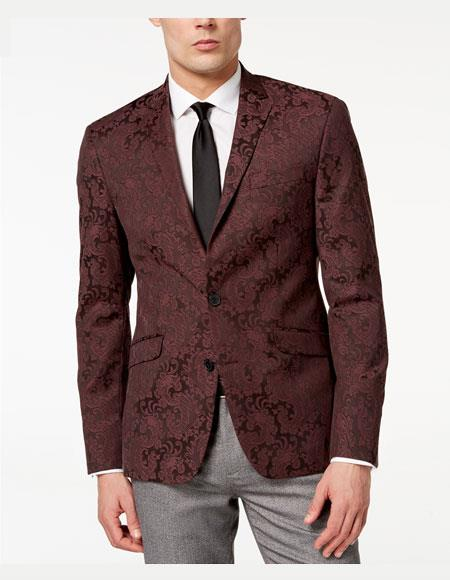 Men's Slim Fit Paisley Pattern Burgundy Jacket