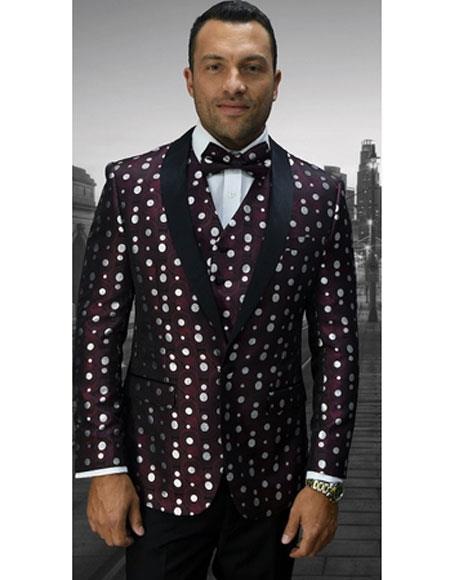 Men's Flashy Shawl Lapel Burgundy and White Dots ~ Maroon Suit  Polka Dot Pattern Jacket & Pants Tuxedo Burgundy Suit
