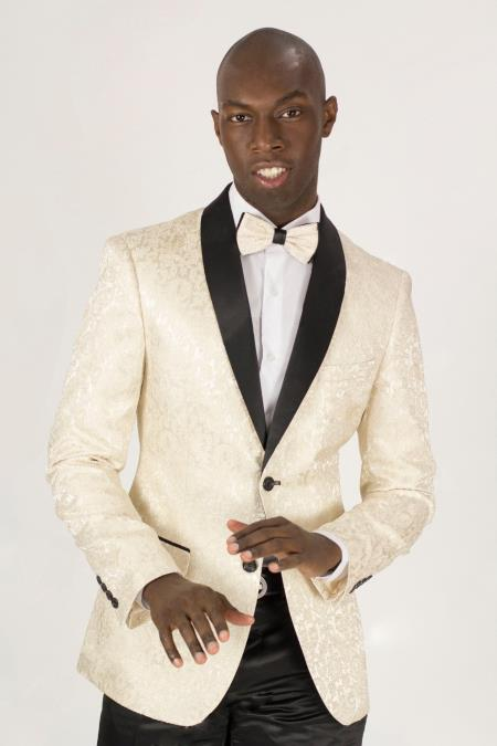 Men's Shawl Lapel Jacket Cream/ Ivory