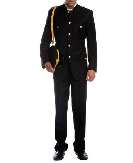Men's Mandarin Collar Black Military Cadet Suit