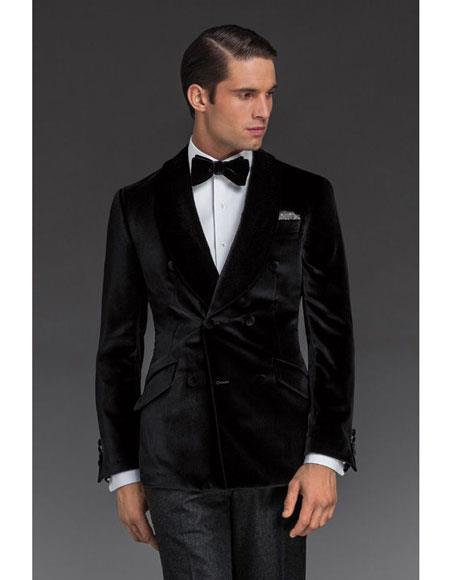 Alberto Nardoni Double Breasted Velvet Dinner Jacket Tuxedo Blazer Sport Coat