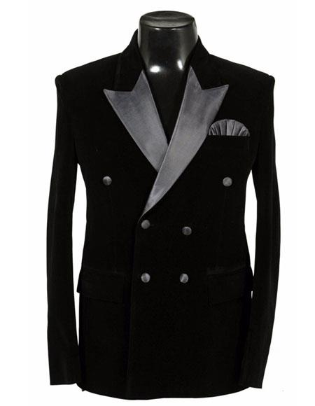 Mens Double Breasted Velvet Dinner Jacket Tuxedo
