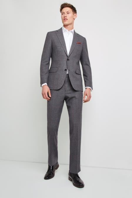 Mens Two Button  Grey with Red