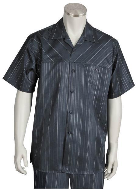 Mens Cross Stripe Short Sleeve Button Fastening Walking Suit