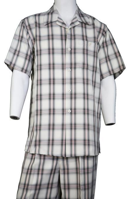 Mens Button Fastening Crosshatch Checkered Short Sleeve Walking Suit
