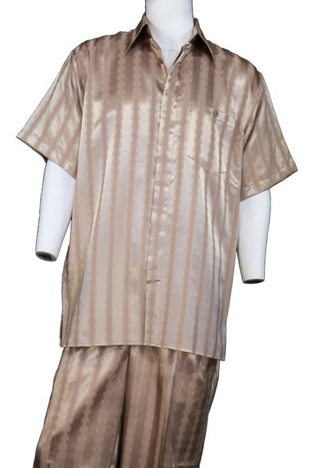 Mens Ombre Stripes Short Sleeve Button Fastening Walking Suit