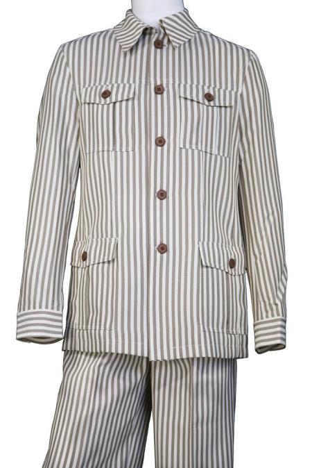 Mens Victorian Stripe Button Fastening Vintage Quad Walking Suit