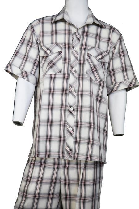 Mens Crosshatch Checkered Button Fastening Walking Suit