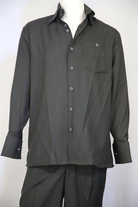 Mens Monotone Button Fastening Walking Suit