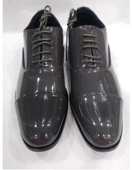 Mens Lace Up Six Eyelet Lacing Cushioned Insole Gray Shoes