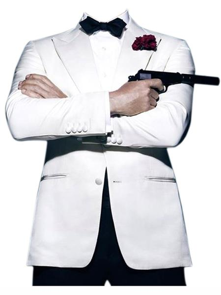 Men's Vintage Style Suits, Classic Suits james bond  Daniel Craig Look Suit Tuxedo White $175.00 AT vintagedancer.com