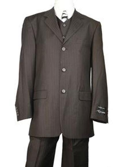 Very Dark Brown ~ Almost Charcoal Black With Pinstripe ~ Stripe 100% Wool Pleated Pants Three / 3 buttons Vested Cheap Priced Business Suits Clearance Sale
