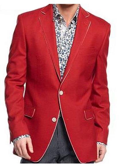 Men's  Solid Red Flap Fron Pocket Sport Coat