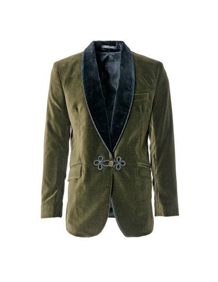 Mens Single Breasted Olive Shawl Lapel One Chest Pocket Jacket