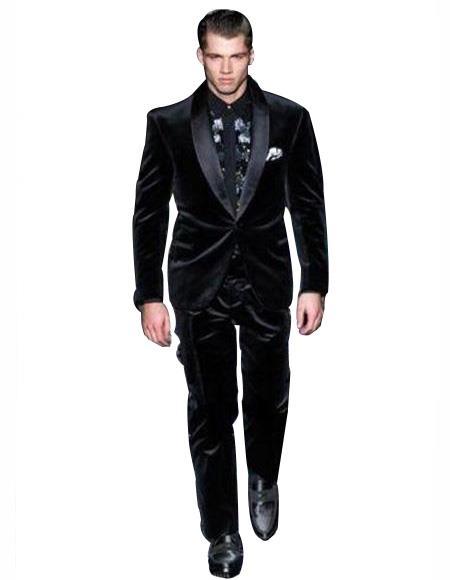 Velvet Tuxedo Dinner Jacket + Same Fabric Pants Suit Black Lapel Blazer Sport Coat Black