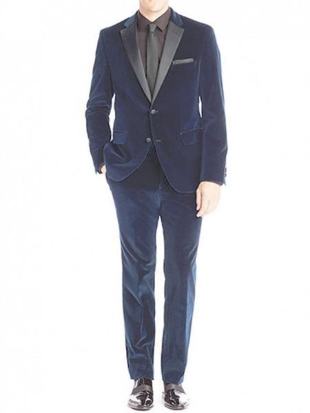 Men's Velvet Blue Tuxedo Suit