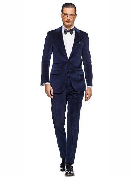 Alberto Nardoni Mens Dark Navy Blue Suit For Men Velvet Suit Jacket & Pants (Matching )