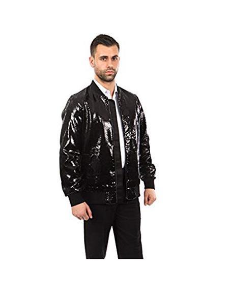 Mens Jacket Slim Fit Sequin Pattern Blazer Big and Tall Bomber Jacket Black