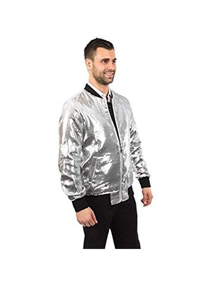 Mens Jacket Slim Fit White Sequin Pattern Blazer Big and Tall Bomber Jacket