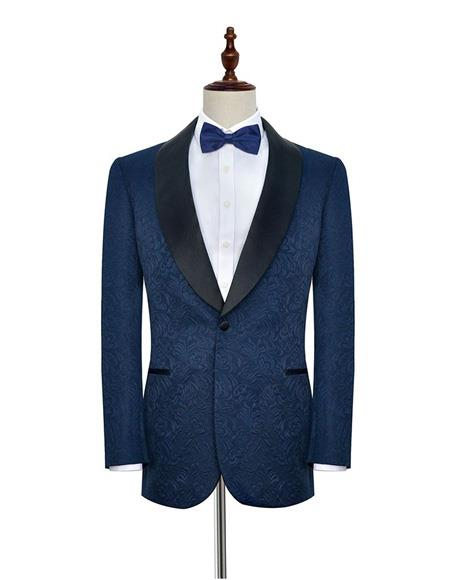 Mens One Button Single Breasted Dark Navy Blue Double Vents Suit