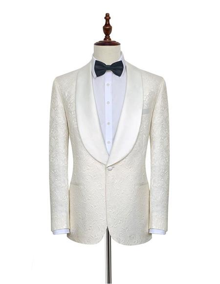 Men's Double Vents One Button Shawl Lapel White  Suit