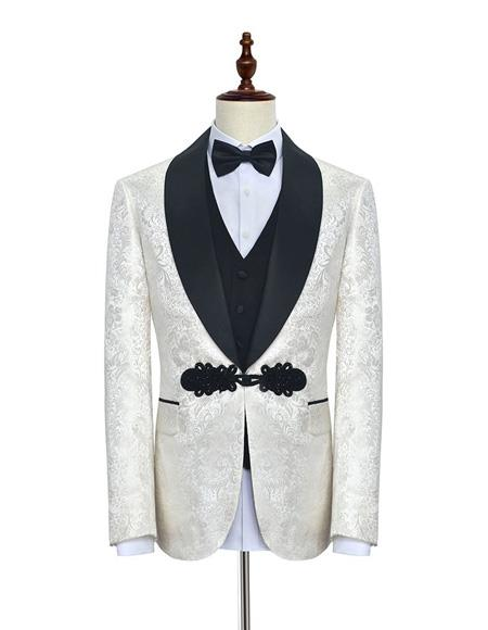Mens Shawl Lapel FloralPattern Fabric Suit White