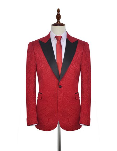 Men's  Double Vents Fabric Bright Red Suit