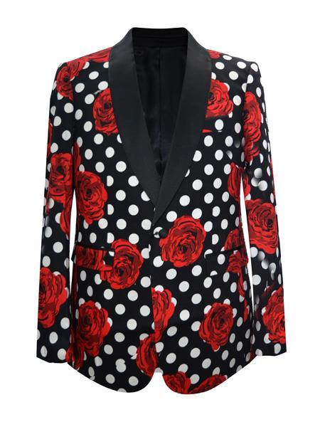 Mens Black Floral ~ Dot Pattern Shawl Lapel Blazer