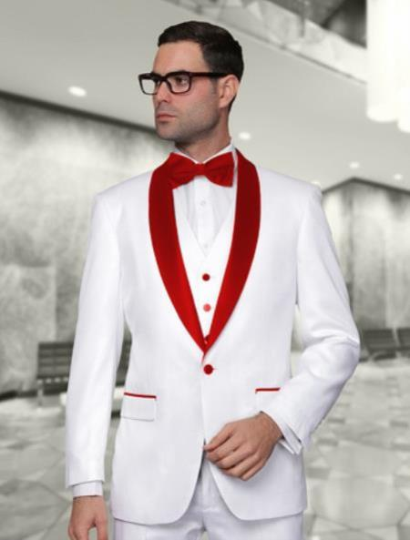 White and Red Lapel Tuxedo Vested 3 Pieces Suit  Perfect for Prom and Wedding $185