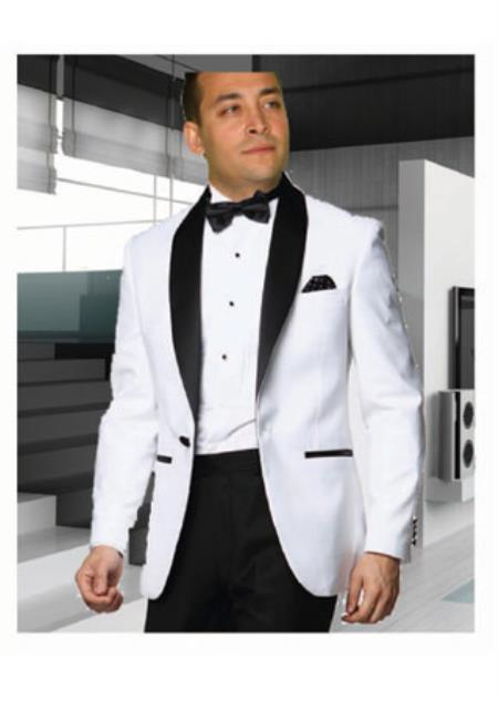 Men's White Tuxedo with a Black Shawl Lapel