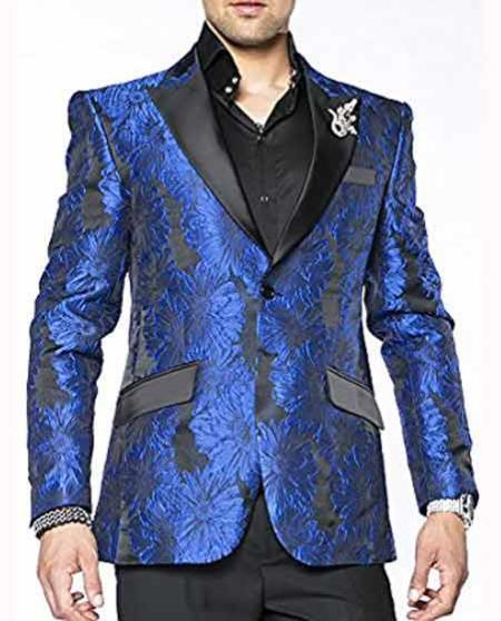 Mens Blue One Chest Pocket Two Button Slim Fit Suit