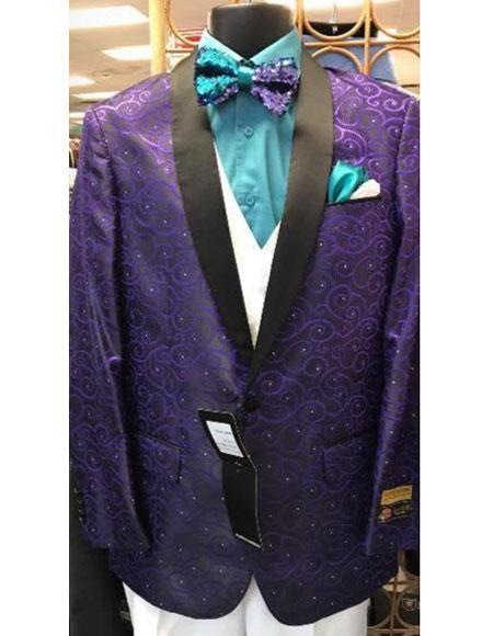 Mens Purple Floral Pattern Fashion big and tall Buttons Closure Black Satin Notch Lapel Blazer
