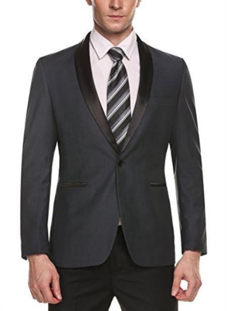 Mens Grey One Button Closure Single Breasted Blazer