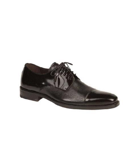 Mezlan Brand Five Eyelet Lacing Cap Toe Cushioned Insole Black Shoe