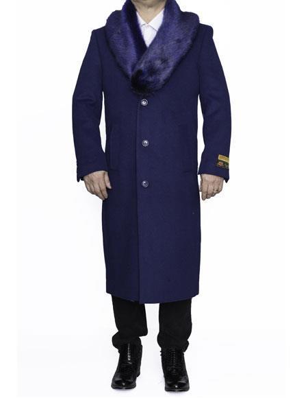 Mens Big And Tall  Overcoat Long Mens Dress Topcoat -  Winter coat 4XL 5XL 6XL Indigo ~ Bright Blue