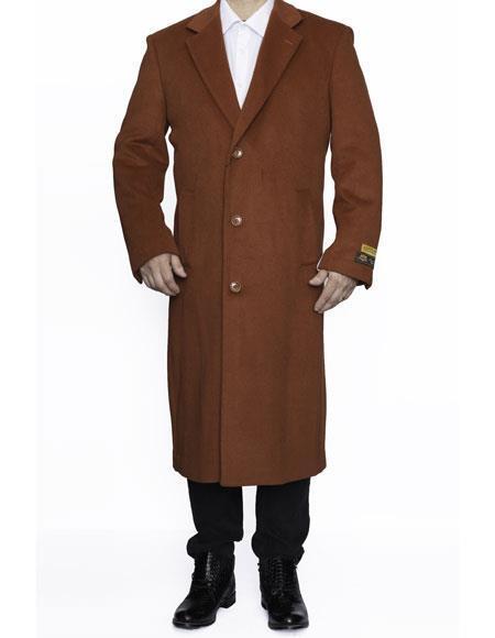 Men's Vintage Style Coats and Jackets Mens Big And Tall Coat Raincoats Overcoat Topcoat 4XL 5XL 6XL Rust $185.00 AT vintagedancer.com