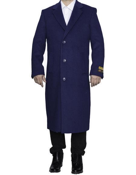Mens Big And Tall Overcoat Topcoat 4XL 5XL 6XL Indigo ~ Bright Blue