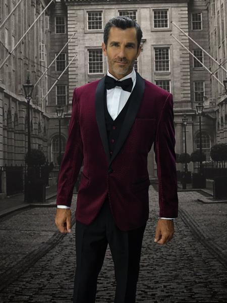 Velvet Suit Mens Velvet Burgundy Suit
